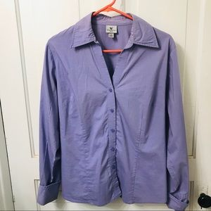 Stretch Tailored Dress Shirt Worthington 14 Purple